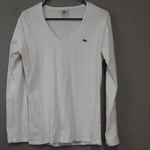 Lacoste Cream Long Sleeve V Neck Top Size 8